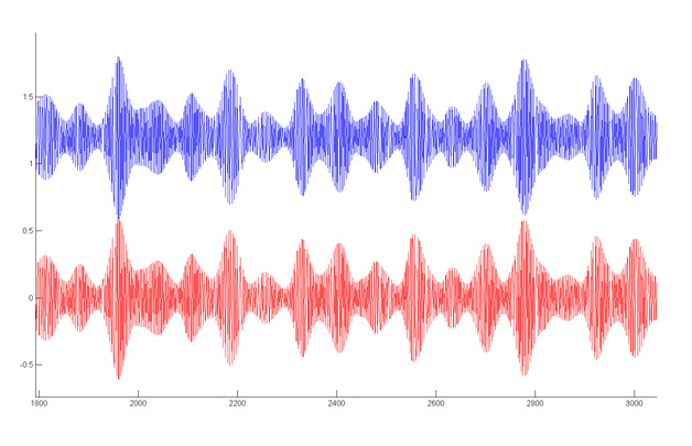 Comparison of extracted features (detail snapshot) using the Matlab (blue) and C (red) implementation. Results are identical. The difference in the baseline is introduced artificially for the visibility of the plotting.